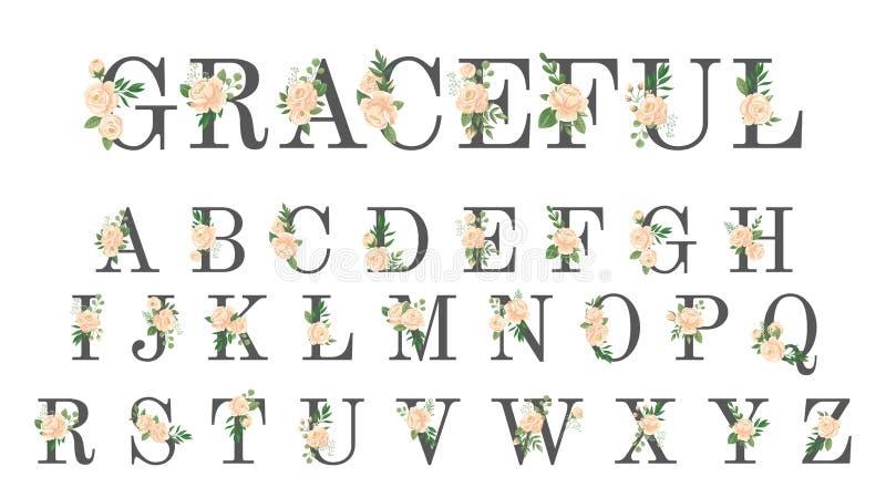 Fonte tipografica floreale L'invito di lusso di nozze fiorisce le lettere, l'alfabeto alla moda del fiore ed è aumentato illustra illustrazione vettoriale