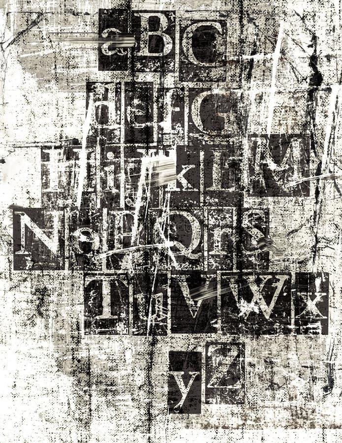 Fonte tipografica metallica di Grunge illustrazione di stock