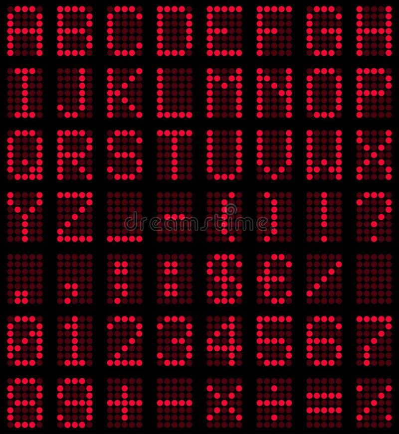 Fonte tipografica rossa della visualizzazione di LED royalty illustrazione gratis