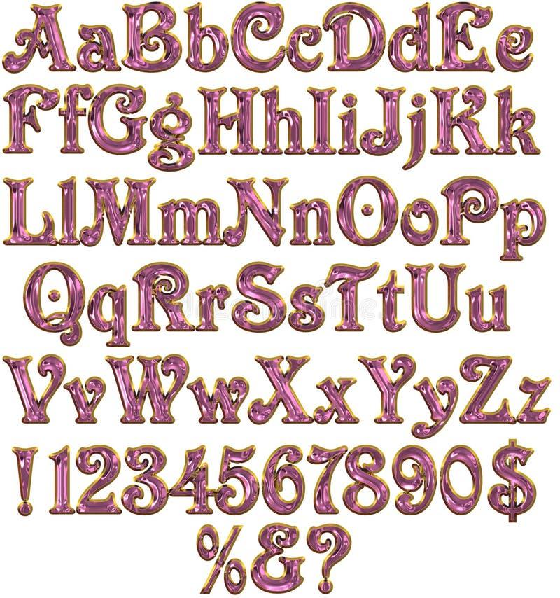 Fonte tipografica sveglia dell'oro & di colore rosa illustrazione di stock