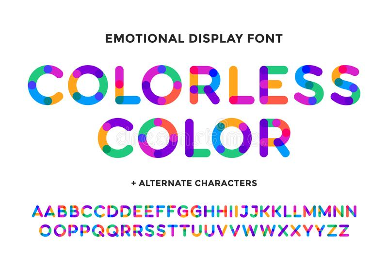 Fonte tipografica variopinta Alfabeto luminoso variopinto e fonte illustrazione vettoriale
