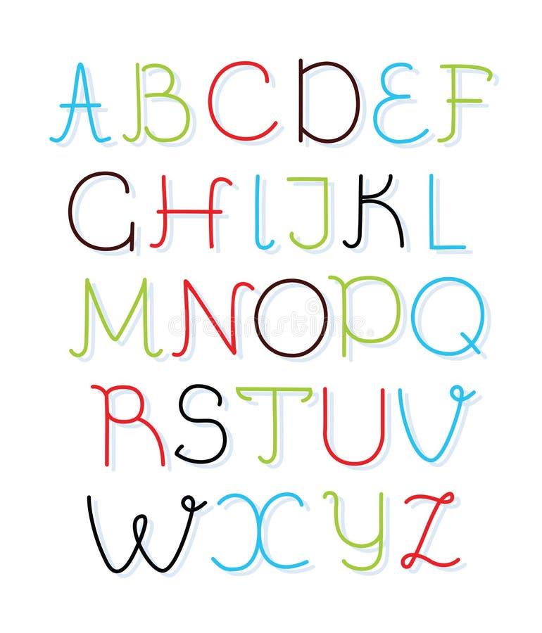 Fonte tirada mão da caixa baixa do alfabeto do vetor Letras isoladas na cor diferente para sua rotulação, cópia, projeto ilustração stock