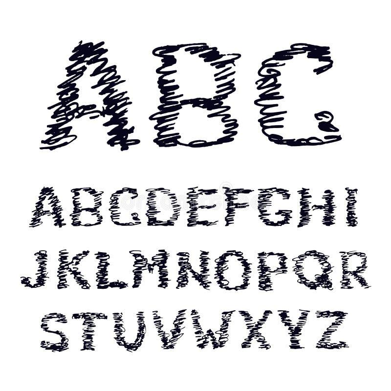 Fonte tirada mão da garatuja no branco A ilustração do vetor de símbolos esboçados de um alfabeto rabisca ilustração do vetor