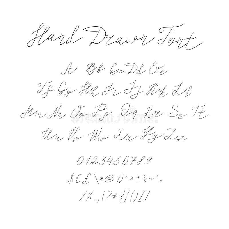 A fonte tirada mão do vetor, Typeset escrito à mão caligráfico, enegrece linhas, letras e símbolos esboçados ilustração royalty free