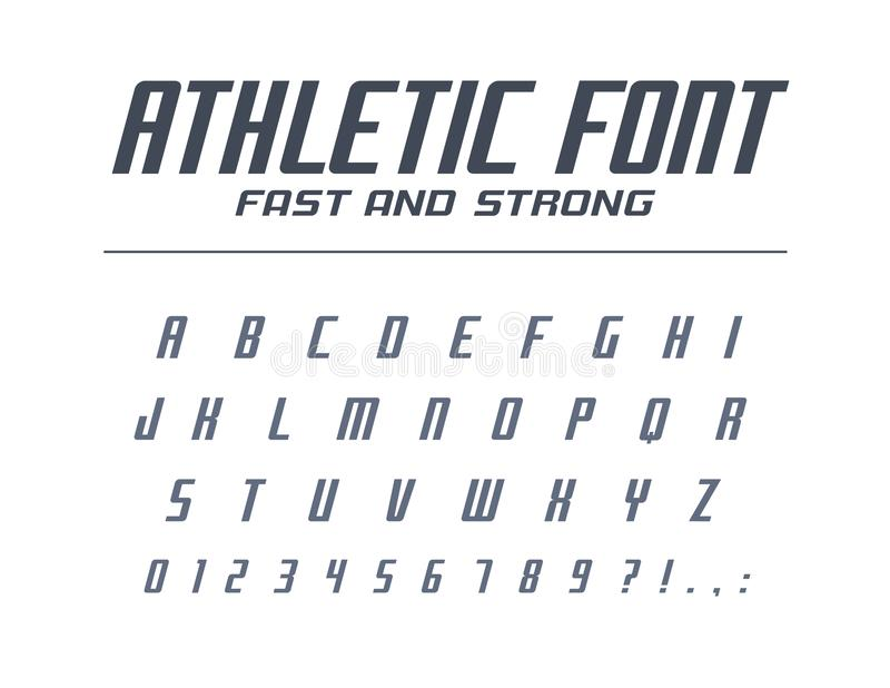 Fonte universale veloce e forte atletica Funzionamento di sport, futuristico, alfabeto di tecnologia Lettere, numeri per progetta illustrazione vettoriale