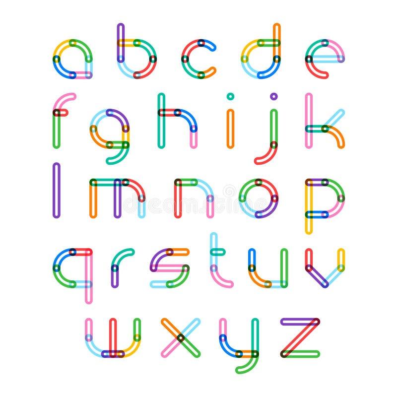 Fonte variopinta, lettere di alfabeto illustrazione di stock
