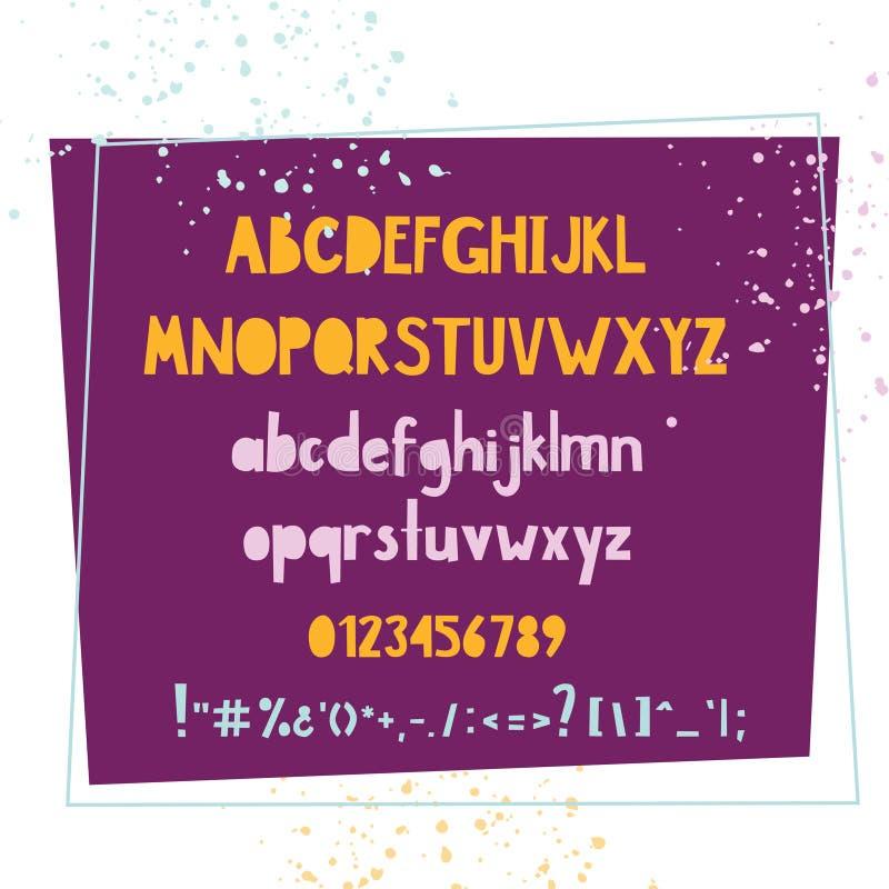 Fonte variopinta scritta a mano audace Insieme tipografico per progettazione dei bambini illustrazione vettoriale