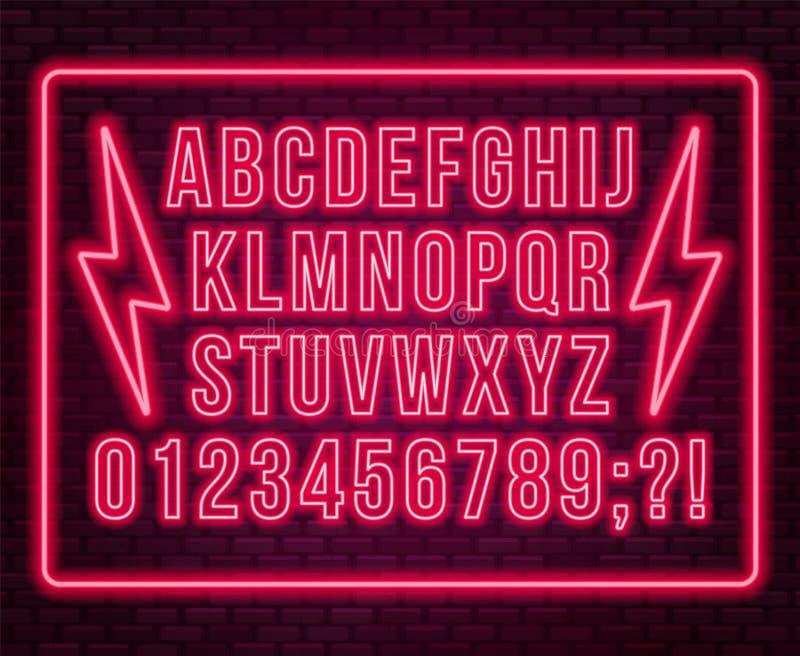Fonte vermelha de néon Letras principais brilhantes com números em um fundo escuro ilustração royalty free