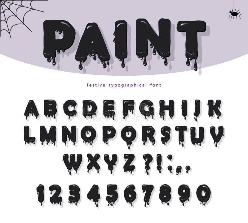 Fonte viscosa della pittura del nero di Halloween Fumetti tagliati carta royalty illustrazione gratis