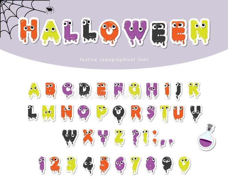 Fonte viscosa di Halloween per i bambini Fumetti tagliati carta illustrazione di stock