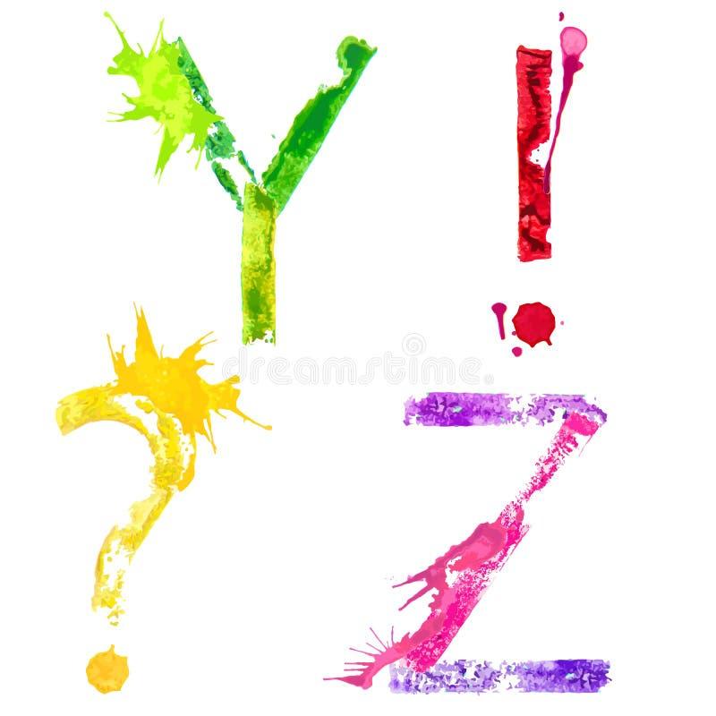 Fonte Y, Z e marcas do respingo da pintura do vetor de pontuação ilustração do vetor