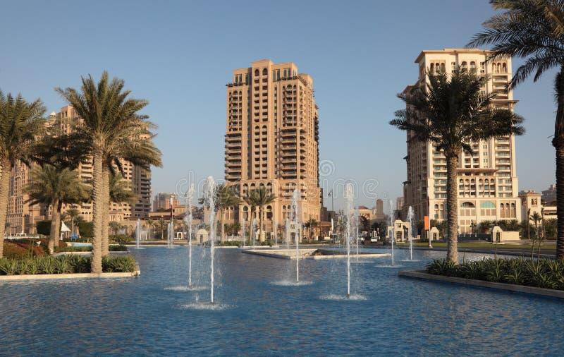 Fontein bij de Parel, Doha stock foto's