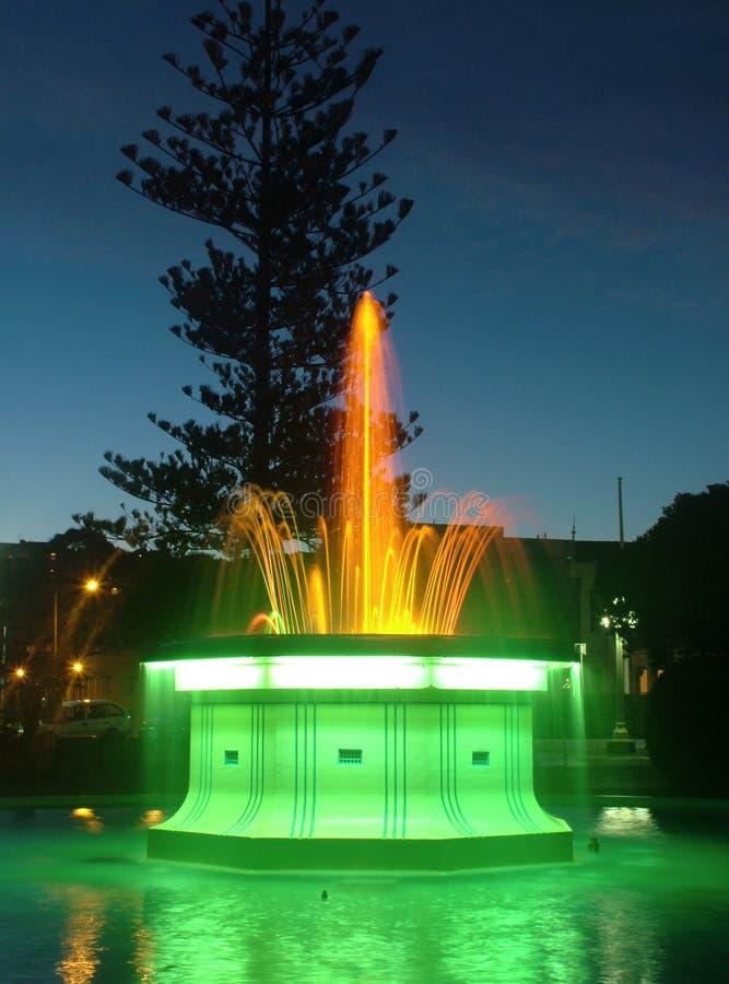 Fontein bij nacht stock afbeelding