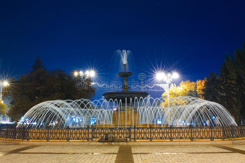 Fontein in Donetsk, de Oekraïne royalty-vrije stock afbeeldingen