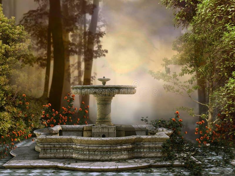 Fontein in het bos stock illustratie