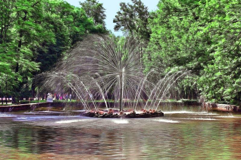 Fontein in het centrum van de vijver stock illustratie