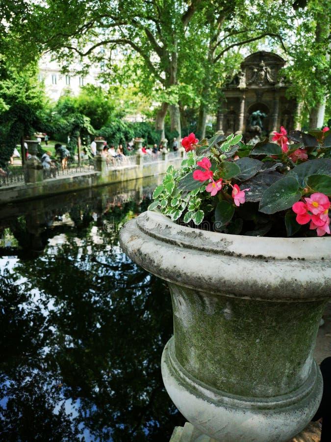 Fontein in het Paleis van Luxemburg in de Tuinen van Luxemburg, Parijs, Frankrijk stock fotografie