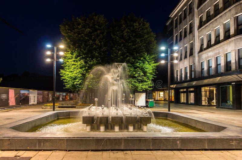 Fontein in Kaunas bij nacht royalty-vrije stock afbeeldingen