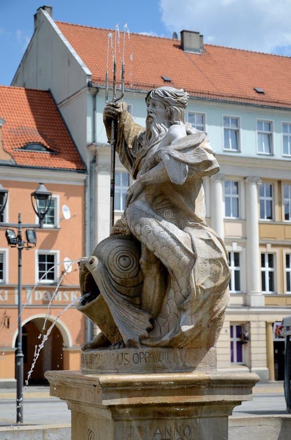 Fontein met Neptunus in Gliwice, Polen royalty-vrije stock afbeeldingen