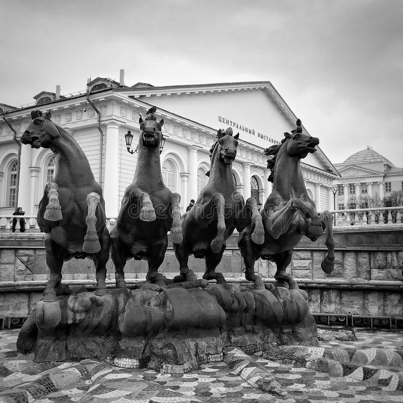 Fontein in Moskou stock afbeelding