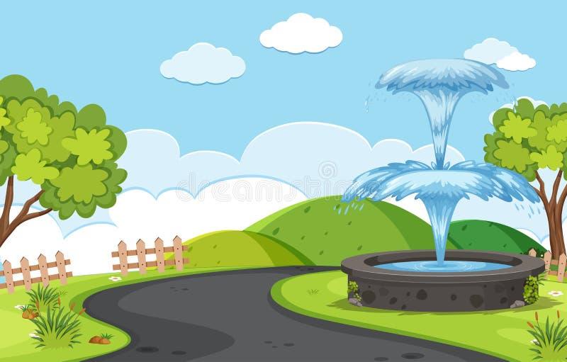 Fontein naast de wegachtergrond stock illustratie