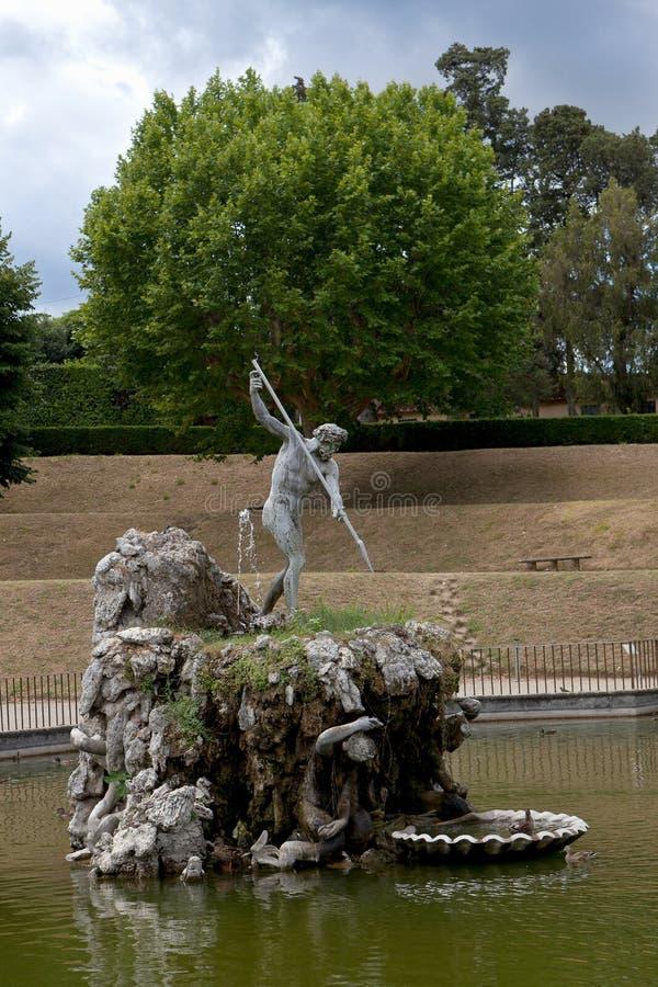 Fontein Neptunus, Boboli Gardensi, Florence, Italië stock afbeelding