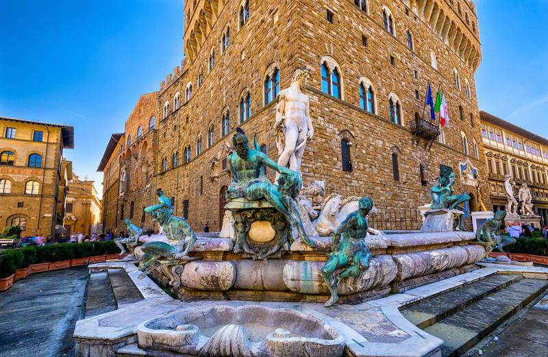 Fontein Neptunus in Piazza della Signoria in Florence royalty-vrije stock afbeeldingen