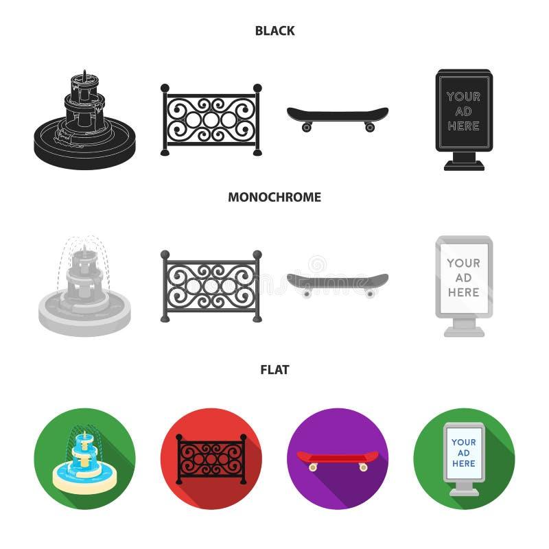 Fontein, omheining, vleet, aanplakbord Pictogrammen van de park de vastgestelde inzameling in de zwarte, vlakke, zwart-wit voorra stock illustratie