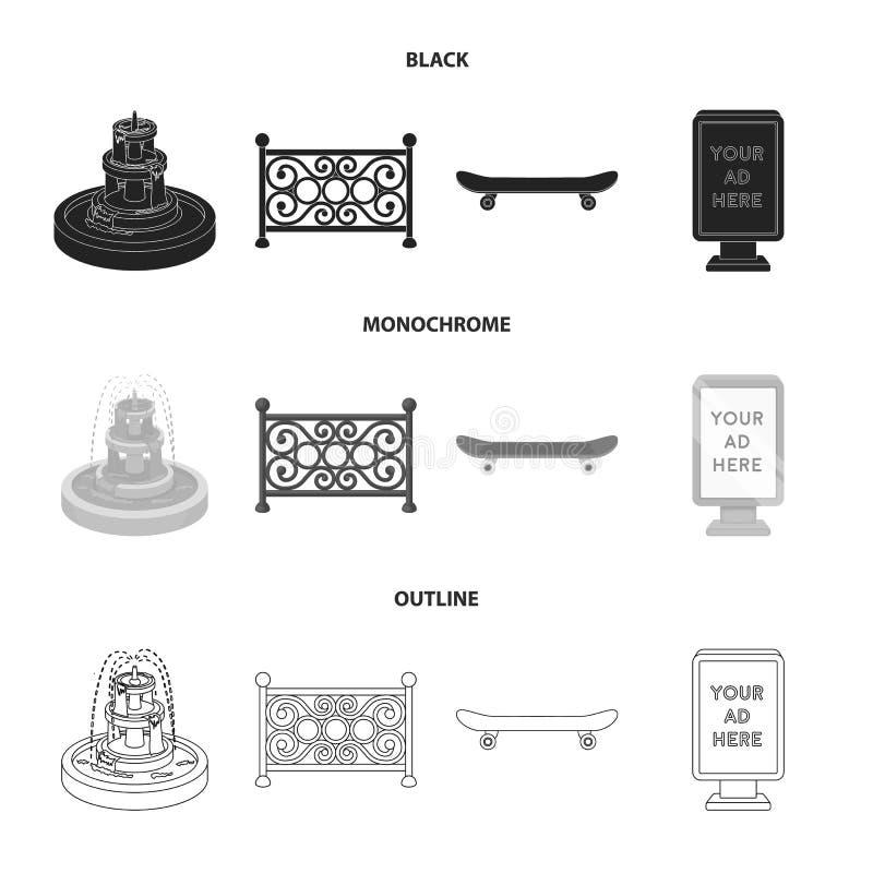 Fontein, omheining, vleet, aanplakbord Pictogrammen van de park de vastgestelde inzameling in zwarte, zwart-wit, vector het symbo royalty-vrije illustratie