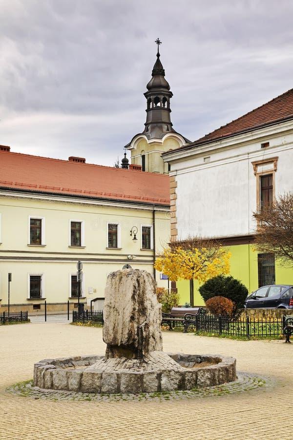 Fontein op vierkant van 3 Mei in Nowy Sacz polen stock foto's