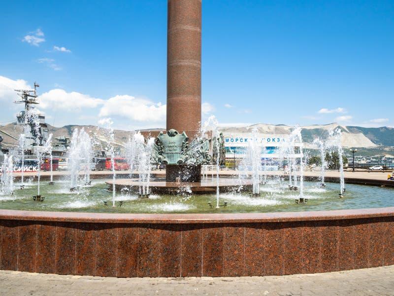 Fontein Overzeese Glorie van Rusland in Novorossiysk stock foto's