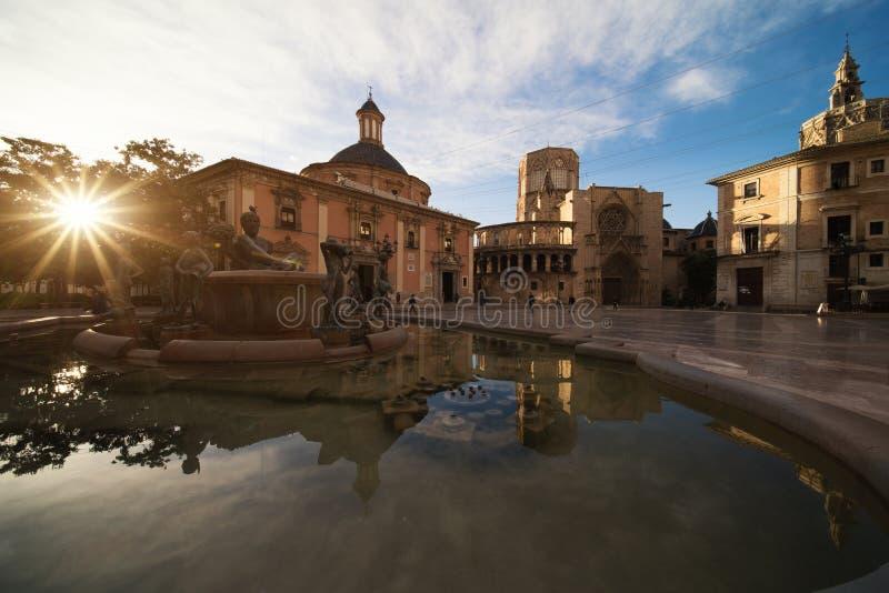 Fontein Rio Turia op Vierkant van de Maagdelijke Heilige Mary, Valencia stock foto