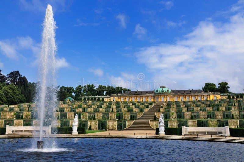 Fontein in Sanssouci, Potsdam stock afbeelding