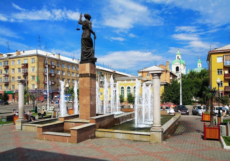 Fontein Themis in Krasnoyarsk, Rusland royalty-vrije stock afbeeldingen
