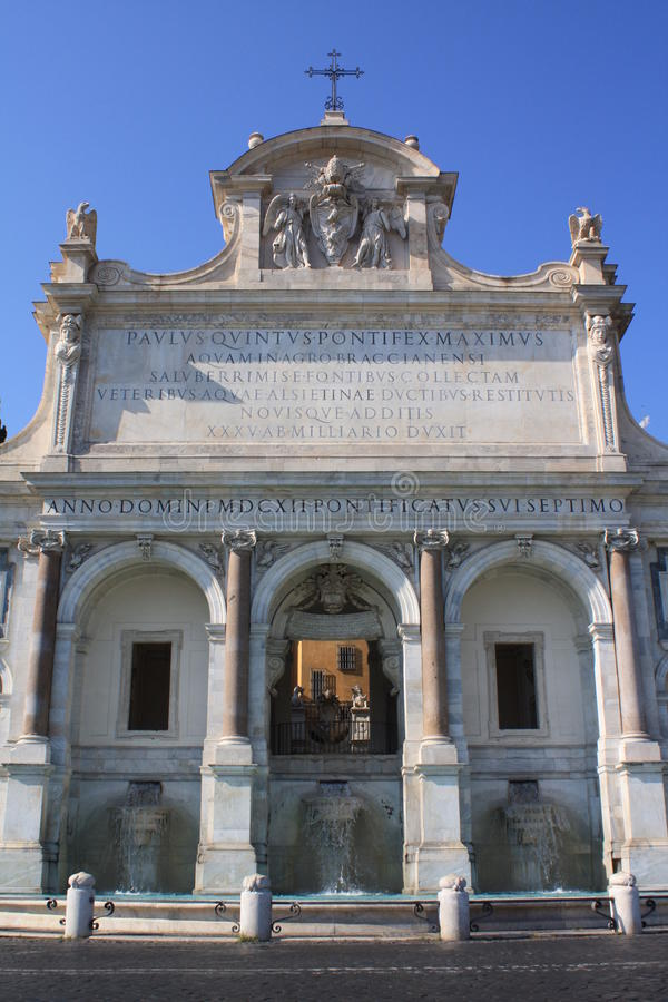 Fontein van Acqua Paola in Rome (Italië) royalty-vrije stock foto