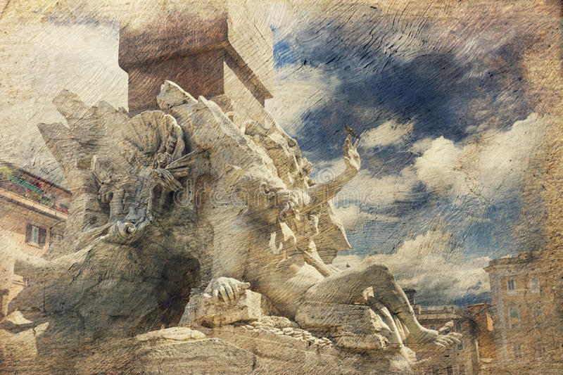 Fontein van de Vier Rivieren. Rome. Italië. royalty-vrije stock afbeeldingen