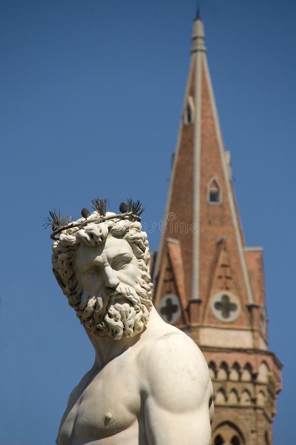 Fontein van Neptunus in Florence stock foto