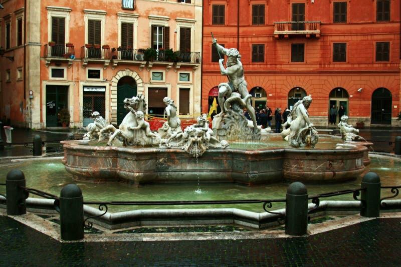 Fontein van Neptunus, Piazza Navona, Rome royalty-vrije stock afbeeldingen