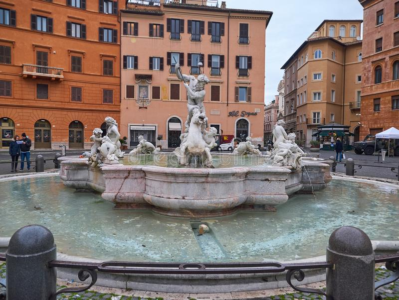 Fontein van Neptunus in Piazza Navona in Rome, Italië stock fotografie