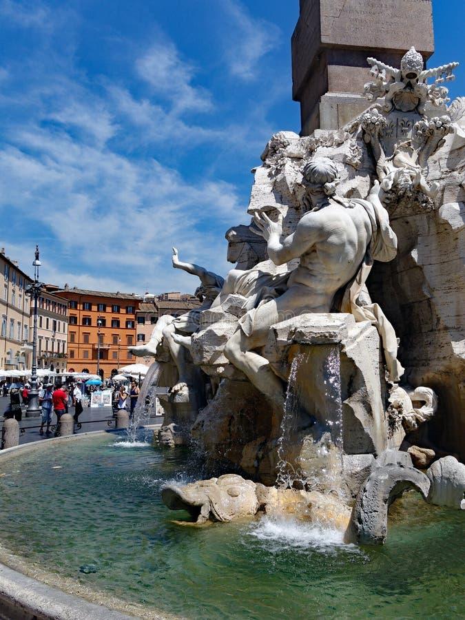 Fontein van Vier Rivieren, Piazza Navona, Rome, Italië stock afbeeldingen