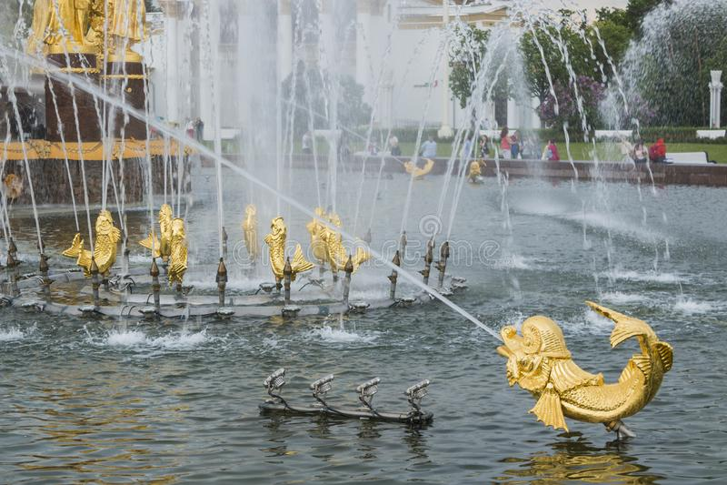 Fontein van Vriendschap van volkeren op het alle-Rus tentoonstellingscentrum in Moskou, Rusland stock foto
