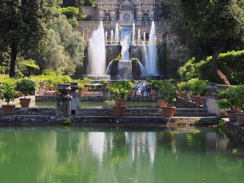 Fontein, Villa d'Este, Tivoli, Italië royalty-vrije stock afbeelding