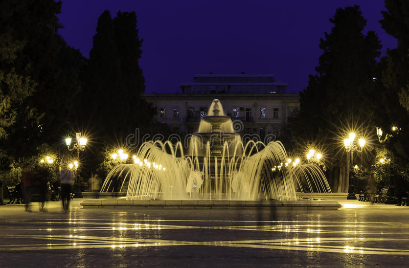 Fonteinpark in Baku royalty-vrije stock afbeelding