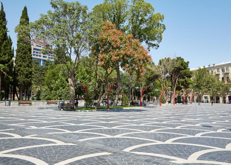 Fonteinvierkant, Baku, Azerbeidzjan royalty-vrije stock afbeelding