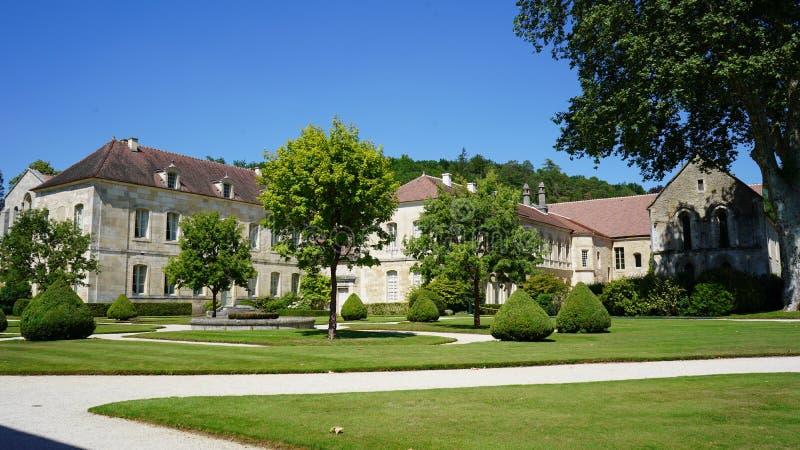Fontenay Abbey, Frankrike arkivfoto