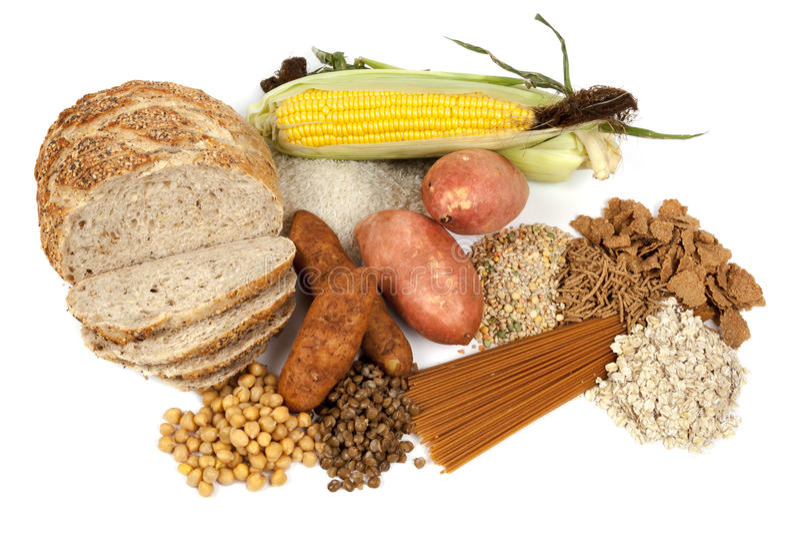 Fontes complexas do alimento dos hidratos de carbono foto de stock royalty free