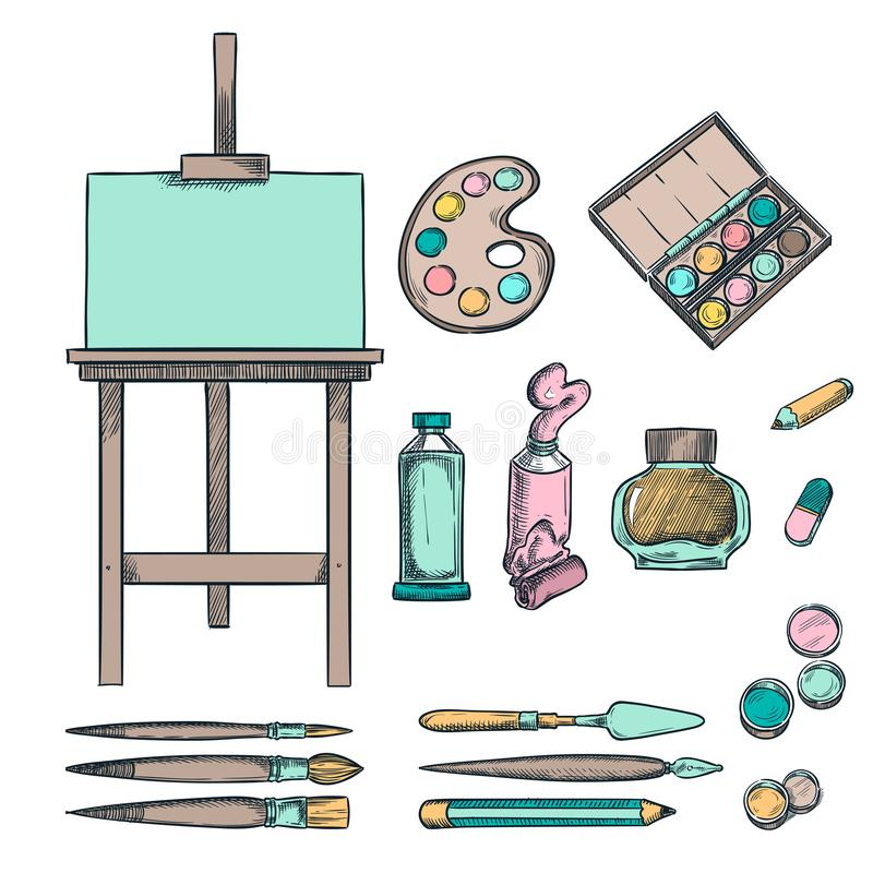 Fontes da arte, ilustra??o do esbo?o Desenho, pintura, elementos do projeto da caligrafia Material do of?cio e dos artigos de pap ilustração do vetor