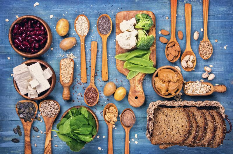 Fontes da proteína do vegetariano imagem de stock