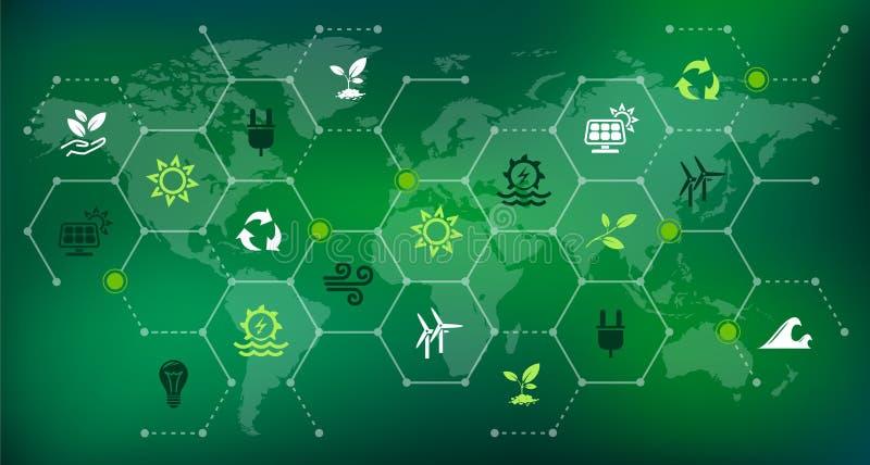 Fontes de energia renováveis & sustentáveis - molhe, solar, vento, energia da biomassa: ilustração ilustração royalty free
