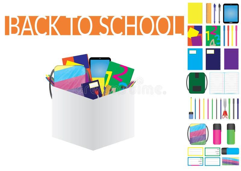 Fontes de escola ajustadas e ellements ilustração stock